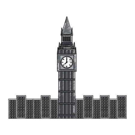 london big ben clock tower famous building city vector illustration