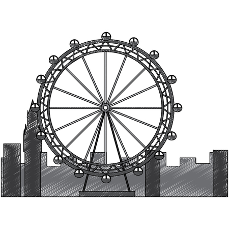 london ferris wheel recreation landmark and buildings vector illustration