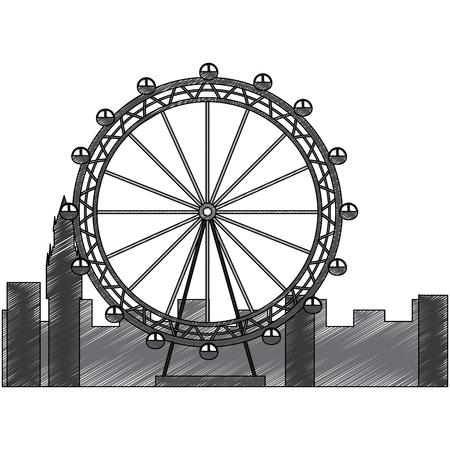 london ferris wheel recreation landmark and buildings vector illustration