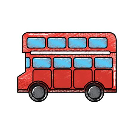 빨간색 런던 더블 데커 버스 대중 교통 벡터 일러스트 레이션 일러스트