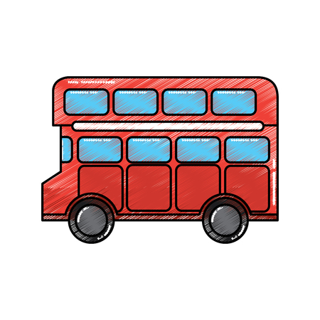 red london double decker bus public transport vector illustration Ilustração