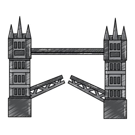 london tower bridge united kingdom landmark vector illustration Çizim