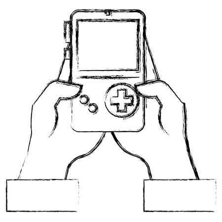 gamer with portable game video device vector illustration design