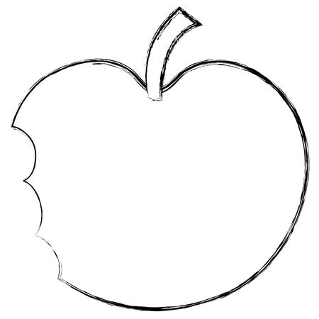 bitten apple fresh fruit icon vector illustration design