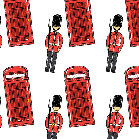 london soldier royal and cabin telephone vector illustration