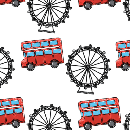 uk london double bus decker ferris wheel symbol pattern vector illustration