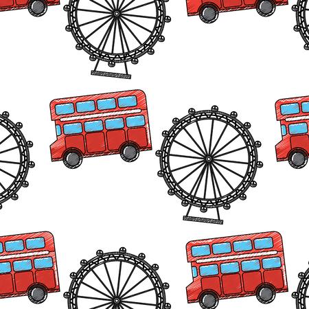 Verenigd Koninkrijk Londen dubbeldekker dekreisje reuzenrad symbool patroon vectorillustratie