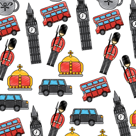 london and united kingdom city soldier crown taxi bus big ben icons vector