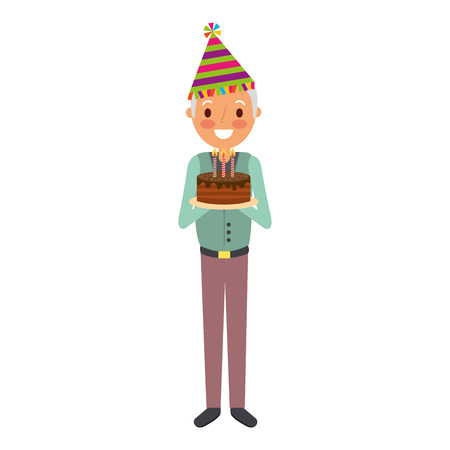 old man grandpa holding birthday cake with candles vector illustration Ilustracja
