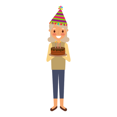 Abuela de anciana con sombrero de fiesta con ilustración de vector de torta de cumpleaños Foto de archivo - 91218626