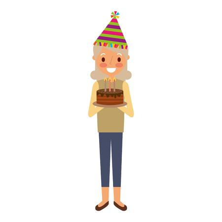elderly woman grandma with party hat holding birthday cake vector illustration Illustration