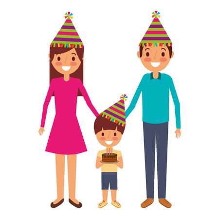 family parents and child holding birthday cake celebration vector illustration