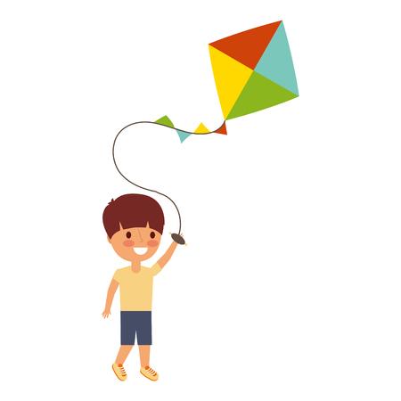 child holding kite playing cheerful vector illustration Reklamní fotografie - 91213928