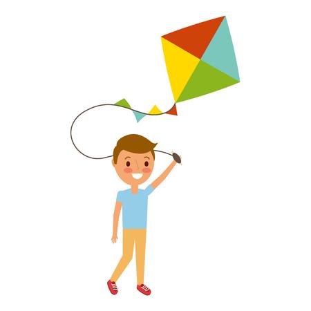 child holding kite playing cheerful vector illustration Reklamní fotografie - 91218641