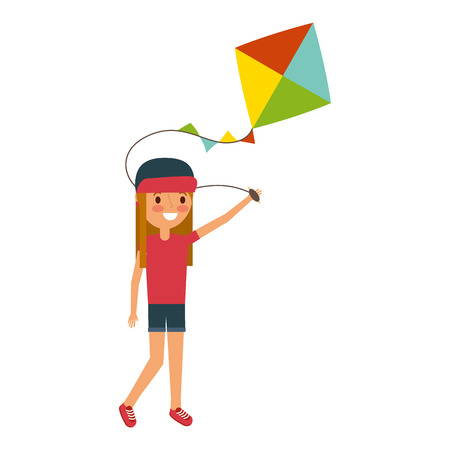 child holding kite playing cheerful vector illustration