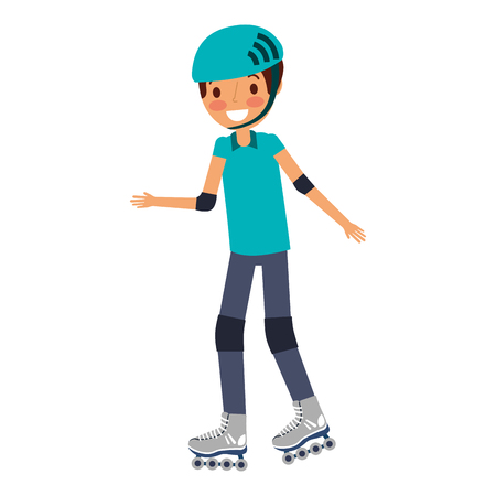 Niño vistiendo casco y patín de ruedas ilustración vectorial divertida Foto de archivo - 91218644