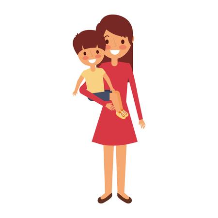 mother carrying her little boy vector illustration Illustration