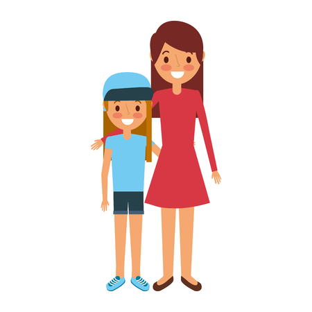 mom embracing with her daughter standing vector illustration Illustration