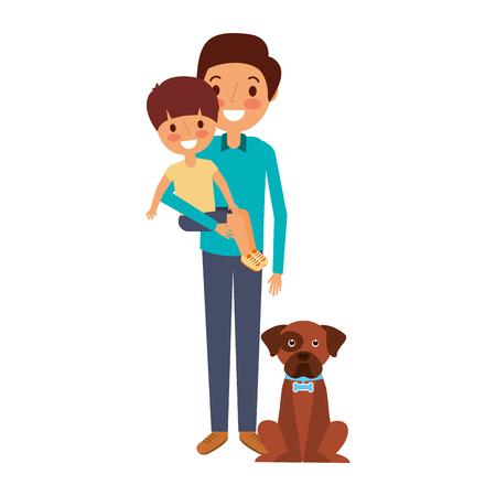 Père tenant son fils avec son chien illustration vectorielle Banque d'images - 91218814