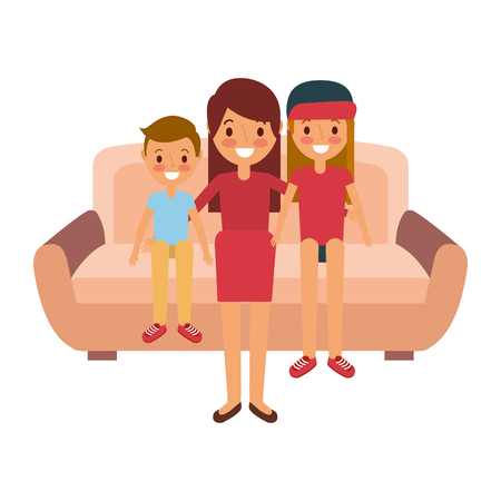 mom sitting in sofa with her daughter and son vector illustration Illusztráció
