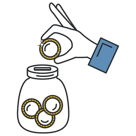 hand saver with glass jar and coins money vector illustration design Illustration