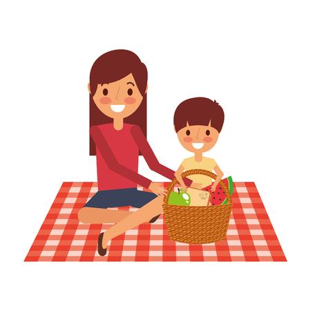 moeder met haar zoon zittend op deken met voedsel mand vectorillustratie