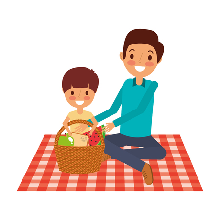 父亲带着儿子坐在毯子上,用菜篮做矢量插图