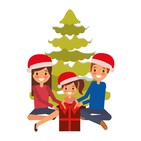 happy family the parents and child with christmas tree and gift vector illustration Illustration