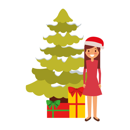 mom standing christmas tree and gift boxes vector illustration