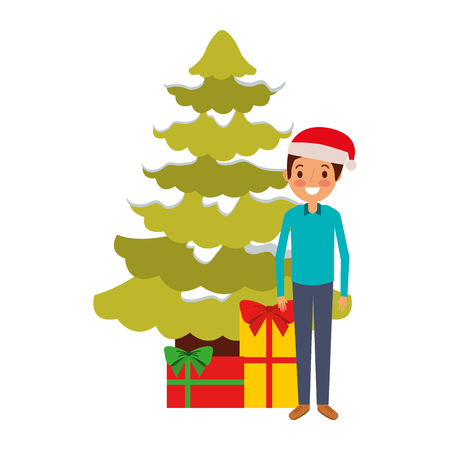Man standing beside the Christmas tree with gift boxes.