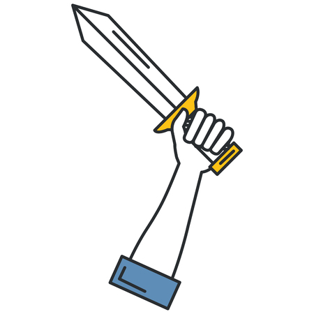 hand with warrior sword vector illustration design