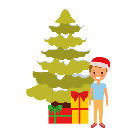 happy kid wearing christmas hat with tree and gifts vector illustration Illustration