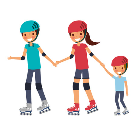 아빠 엄마와 롤러 스케이트와 헬멧 벡터 일러스트와 함께 아들