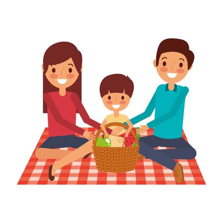 family sitting on blanket picnic with meal basket vector illustration Illustration