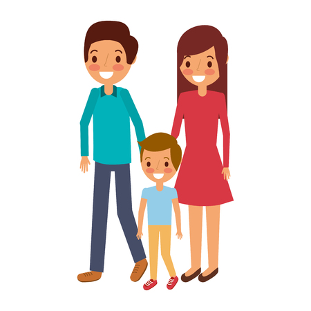 family father mother and son together standing vector illustration Ilustrace