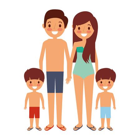 Famiglia che indossa costumi da bagno nell'illustrazione vettoriale vacanze Archivio Fotografico - 91215011