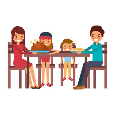 family smiling gathered sitting for dinner vector illustration