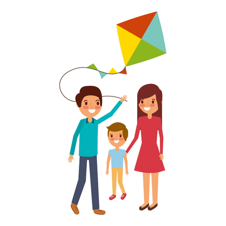 dad mom and son with kite play vector illustration  イラスト・ベクター素材