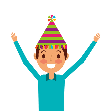 happy man wearing party hat with arms up vector illustration