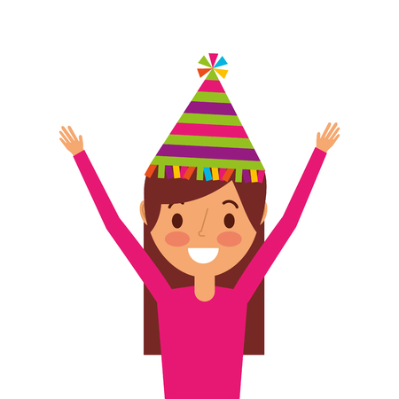 portrait woman happy with party hat and arms up vector illustration Banco de Imagens - 91218701
