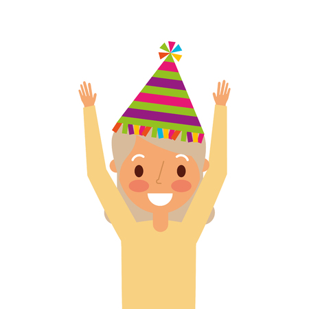elderly woman grandma with party hat and arms up vector illustration Stock Vector - 91218702