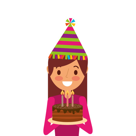 happy woman holding birthday cake wearing party hat vector illustration