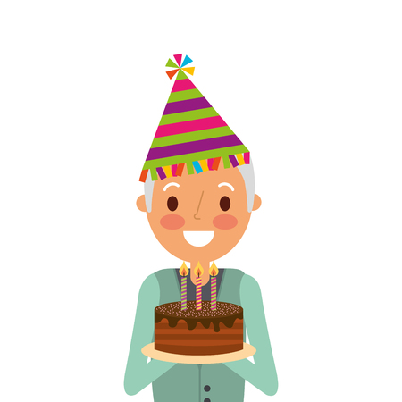 older man grandpa holding birthday cake and party hat vector illustration