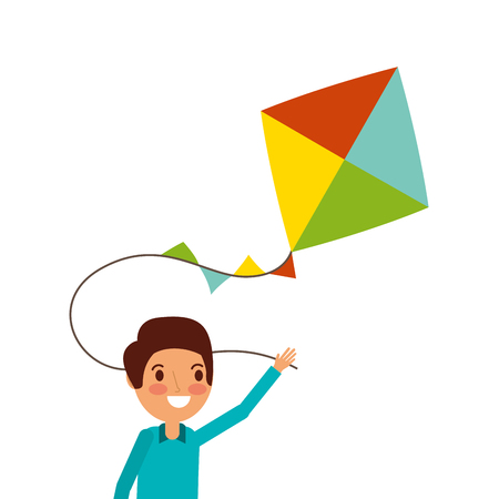 cute happy boy holding kite playing funny vector illustration Vettoriali