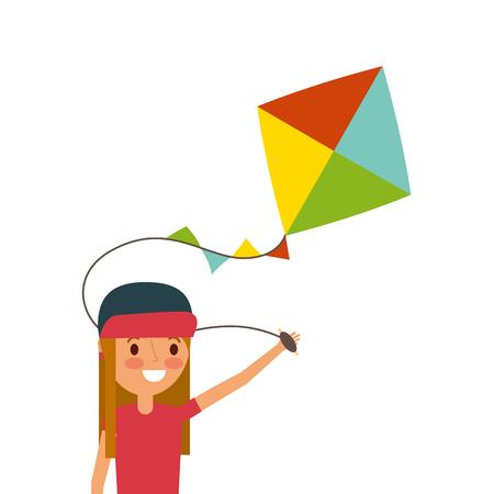 Gelukkig meisje dat een vlieger speelt.