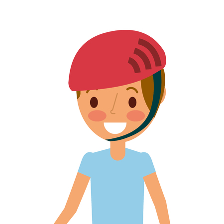 portrait young smiling boy with sport helmet vector illustration Stock Vector - 91215750