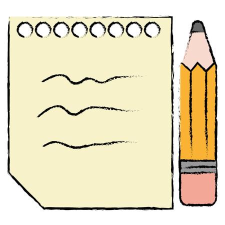 blad van notitieboekje met vector de illustratieontwerp van het potloodpictogram