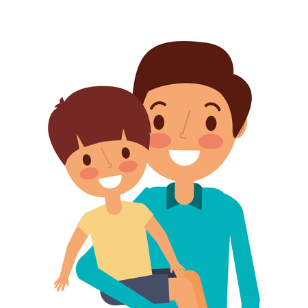portrait dad carrying her son vector illustration