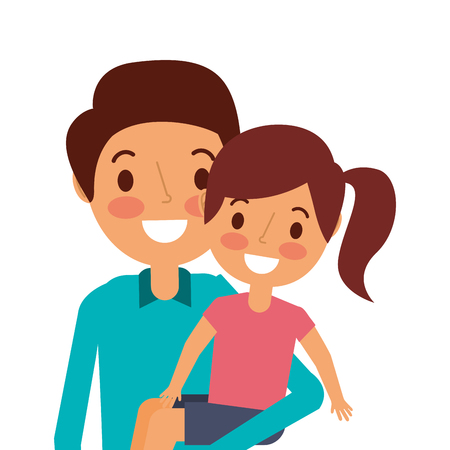 cute dad holding her little daughter vector illustration