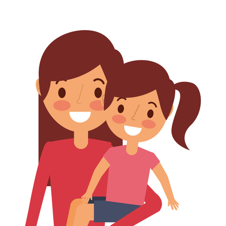 young mom carrying her daughter happy vector illustration Иллюстрация